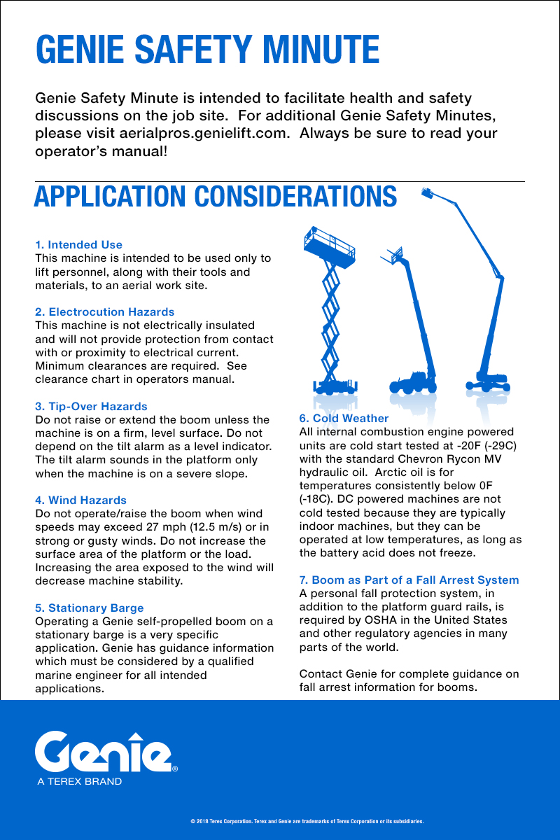 Aerial Lift Safety Genie Awp 25s Wiring Diagram Application Considerations