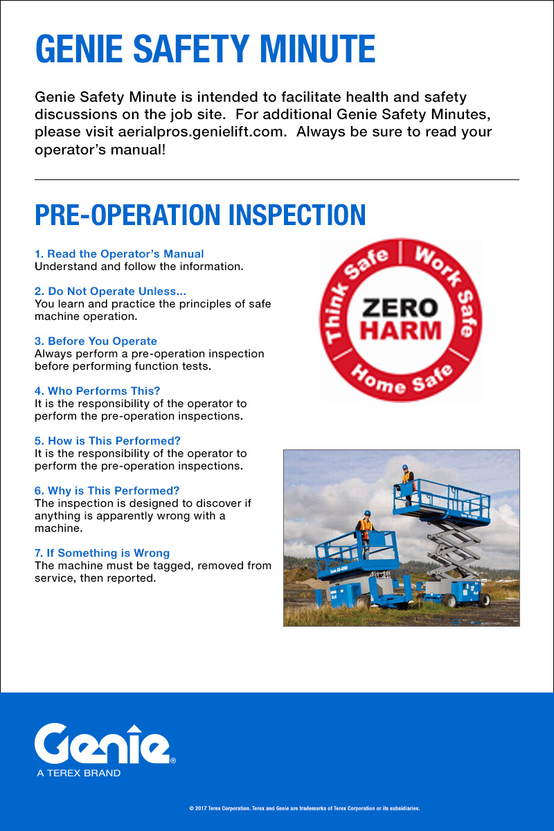 Aerial Lift Safety Genie Awp 25s Wiring Diagram Pre Operation Inspection