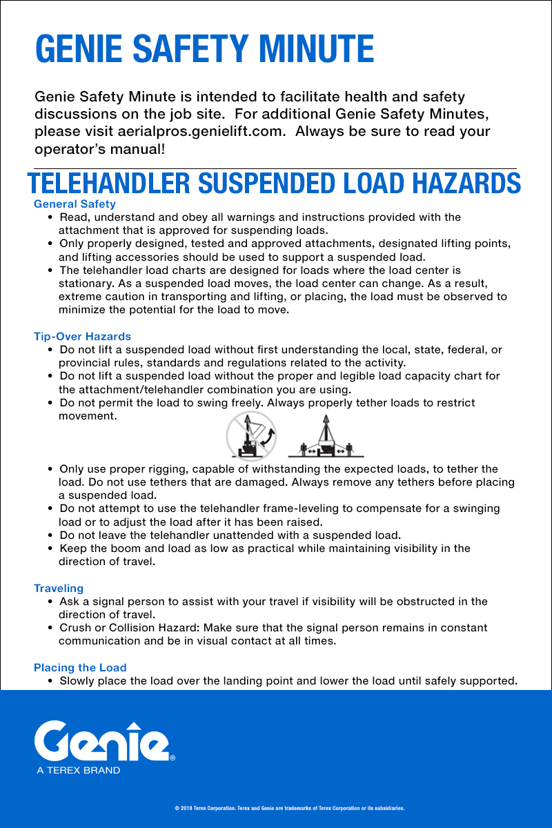 Aerial Lift Safety Genie 1930 Wiring Diagram Telehandler Suspended Load Hazards