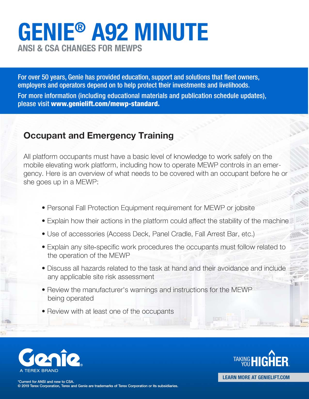 A92 Minute - Occupant and Emergency Training