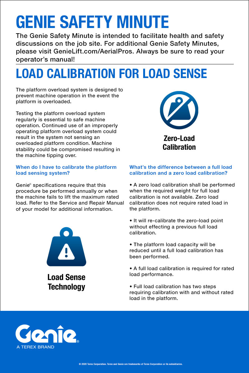 SAFETY MINUTE -Load Calibration for Load Sense