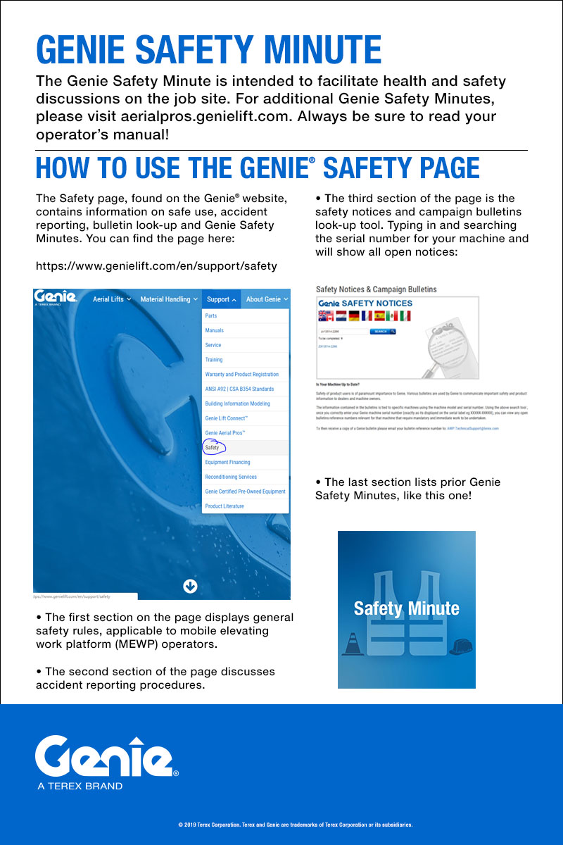 6 - June - SAFETY MINUTE - How to Use the Genie® Safety Page