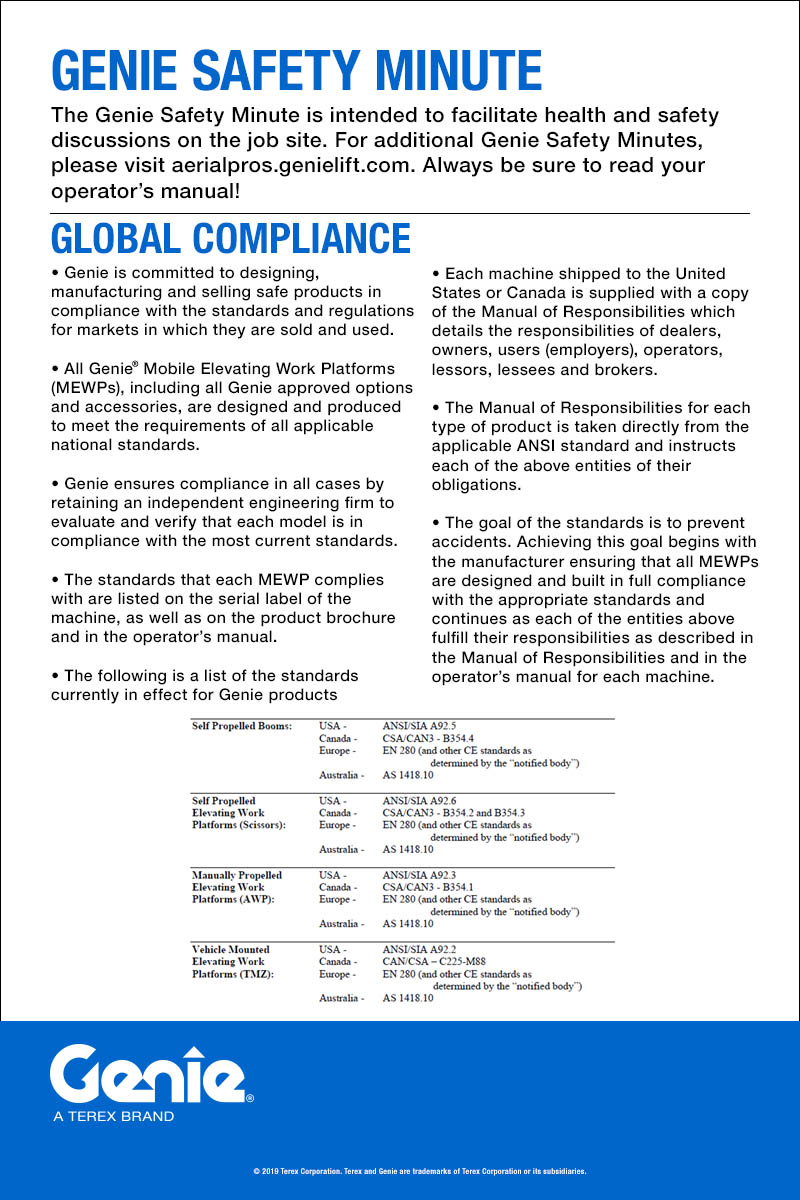 Genie Safety Minute: Global Compliance