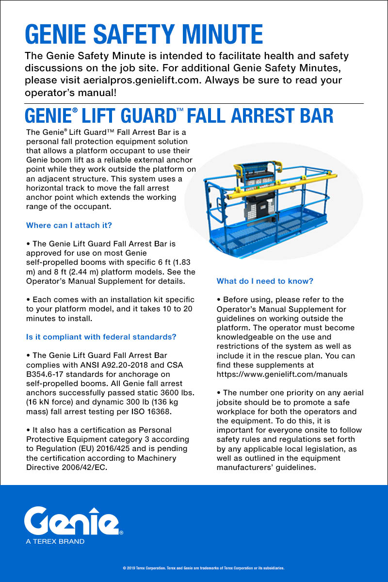 GENIE SAFETY MINUTE - Fall Arrest Bar