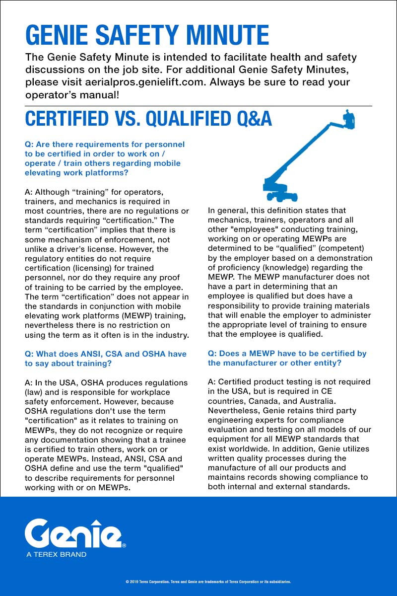 GENIE SAFETY MINUTE - Certified vs. Qualified