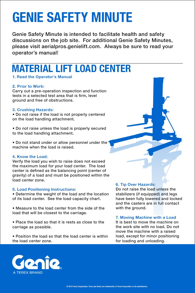 Genie Safety Minute: Material Lift Load Center