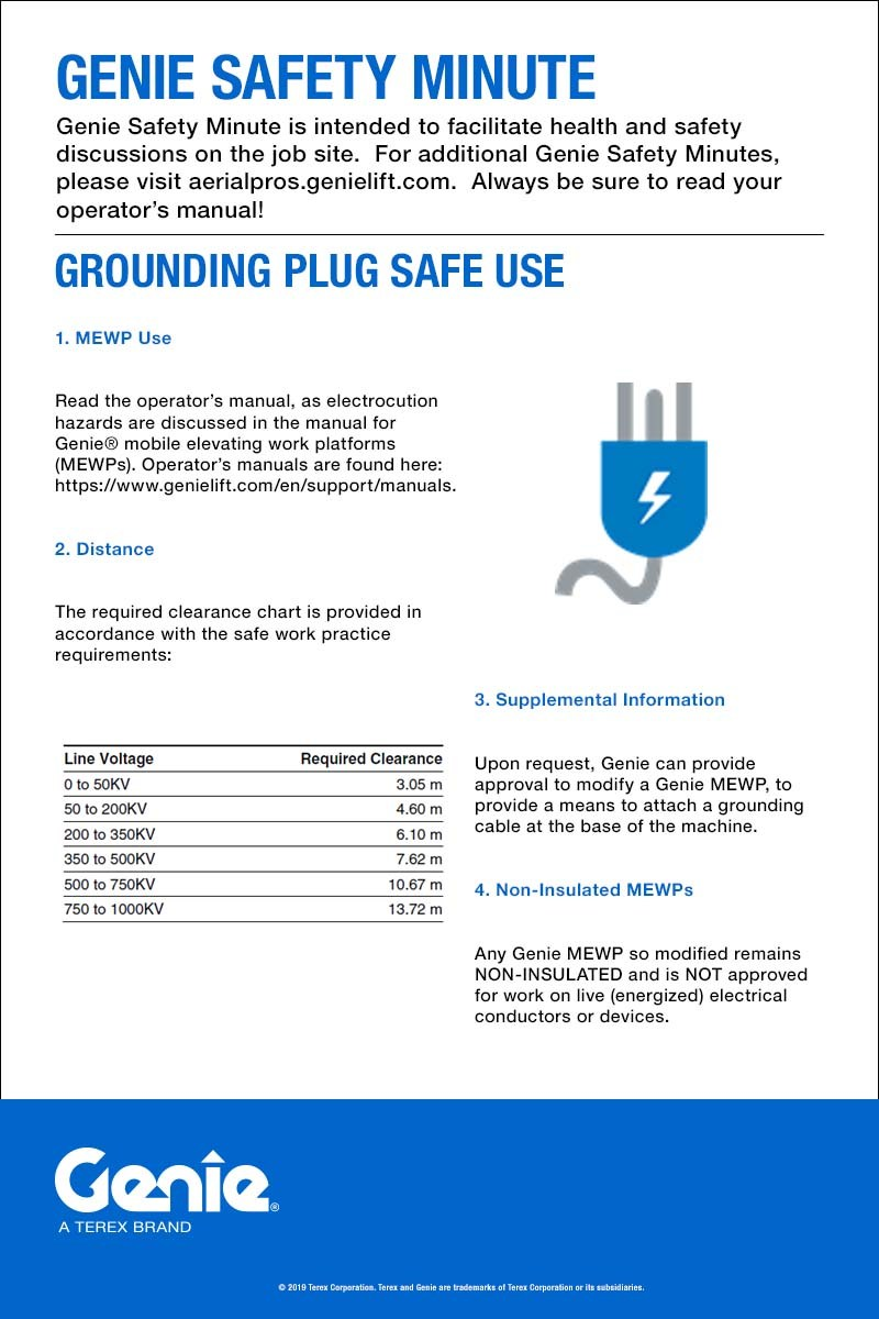 Genie Safety Minute: Grounding Plug Safe Use