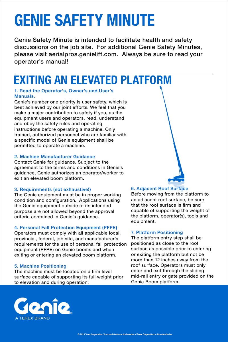Genie Safety Minute: Exiting an Elevated Platform