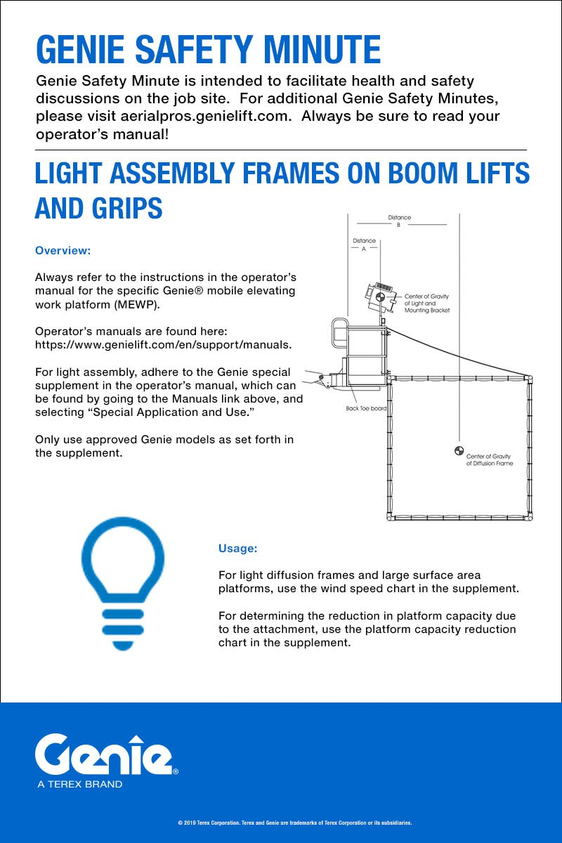 Genie Safety Minute: Light Assembly Frames