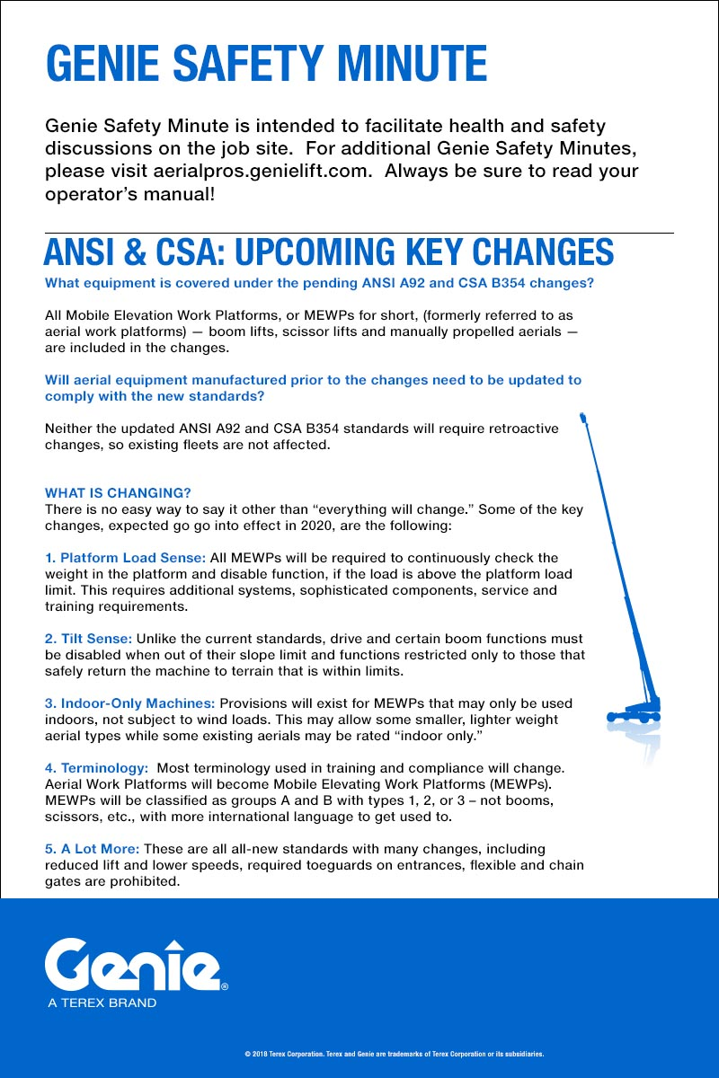 Genie Safety Minute: Key Upcoming ANSI & CSA Changes