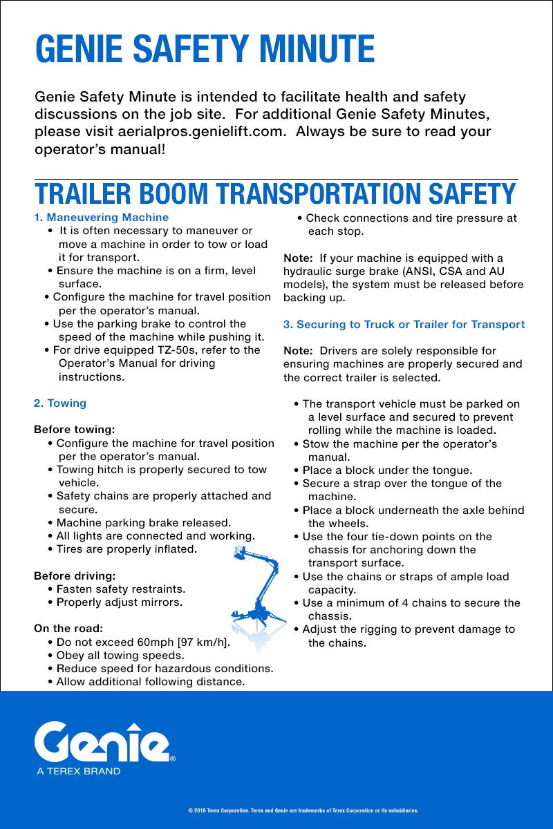 Genie Safety Minute: Trailer Boom Transportation Safety