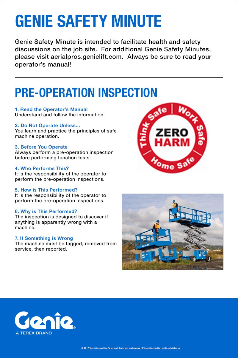 Genie Safety Minute: Pre-Operation Inspection