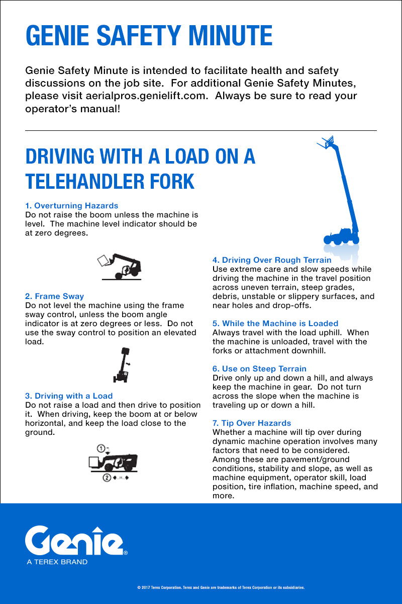 Genie Safety Minute: Driving with a Load on a Telehandler Fork